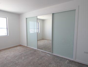 Framed Mirror & White Glass