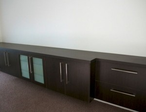 dark wood entertainment cabinet