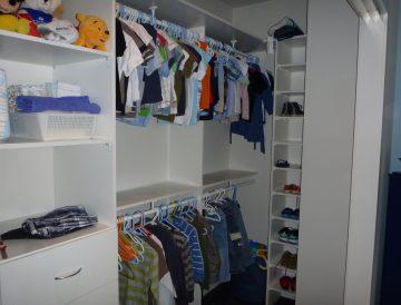 White Melamine wardrobe with clothes